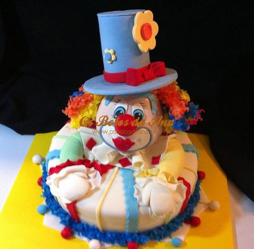 Bolo 3D Palhaço, bolos decorados, bolos artisticos, bolos palhaço