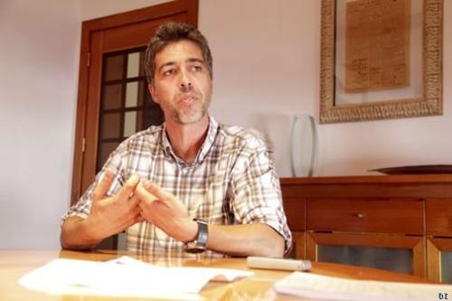 O Miguel, durante a entrevista ao DI...