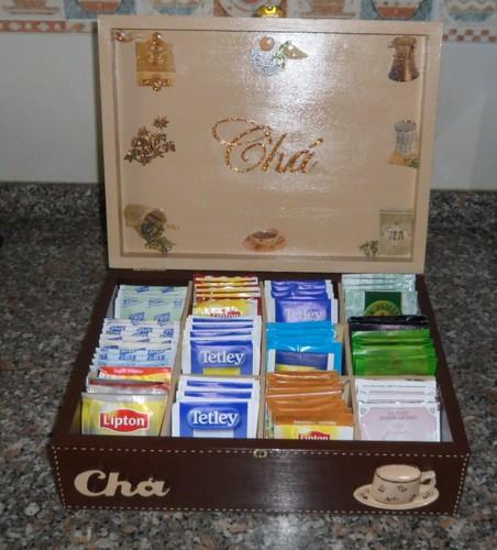 Caixa de Chá 12 divisões em decoupage