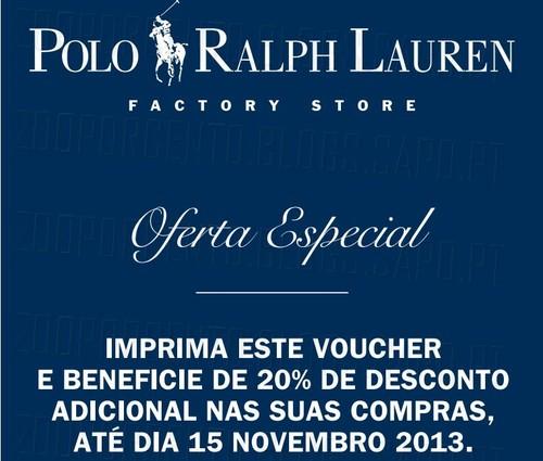 20% de desconto adicional | RALPH LAUREN |, Lojas Factory, até 15 Novembro