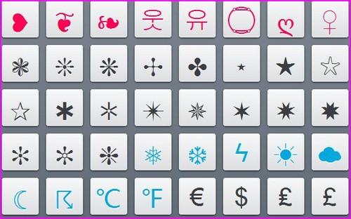 simbolos para facebook e twitter