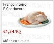 Frango Inteiro a 1,34€ no Continente, até 14 Outubro