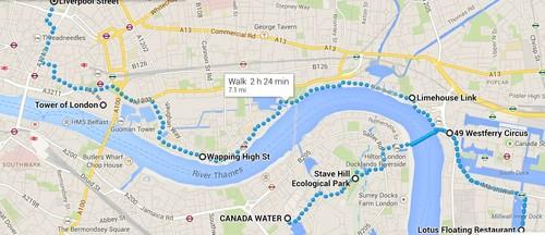 Mapa de Canada Water a Liverpool Street