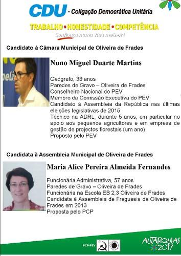 Candidatos CDU à Câmara e à Assembleia Municipal de Oliveira de Frades