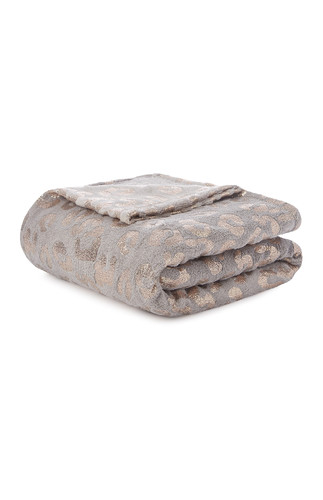 KIMBALL-9598601- GREY LEOPARD FOIL THROW, GRADE D,