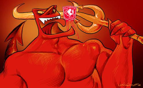 Diabo vermelho come cavalo branco