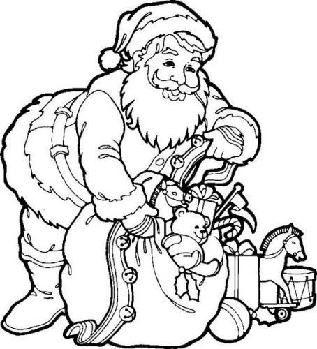 Pai Natal Para Colorir Com Saco De Prendas Desenhos Para