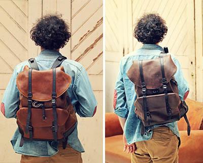 mochilas vintage de couro