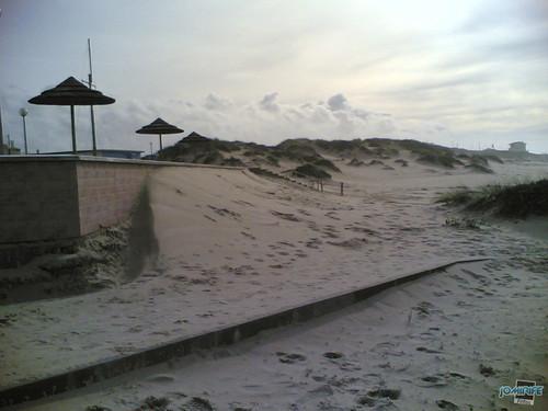 Temporal na praia do Cabedelo - Erosão da areia