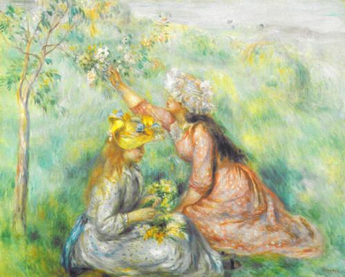 Girls Picking Flowers in a Meadow, by Pierre Auguste Renoir