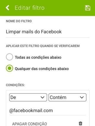 SAPO Mail - definições de filtros