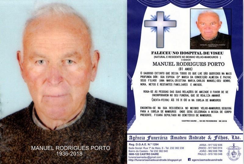FOTO RIP DE MANUEL RODRIGUES PORTO-81 ANOS (MOINHO