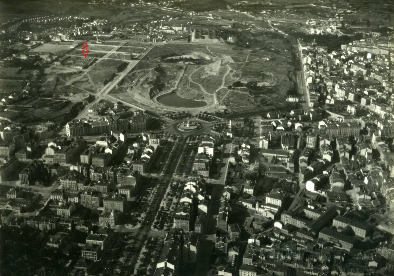 Fotografia aérea da avenida da Liberdade e arredo
