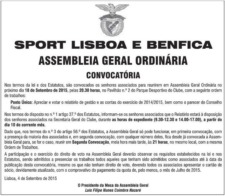 Assembleia Geral Sport Lisboa e Benfica Setembro 2016