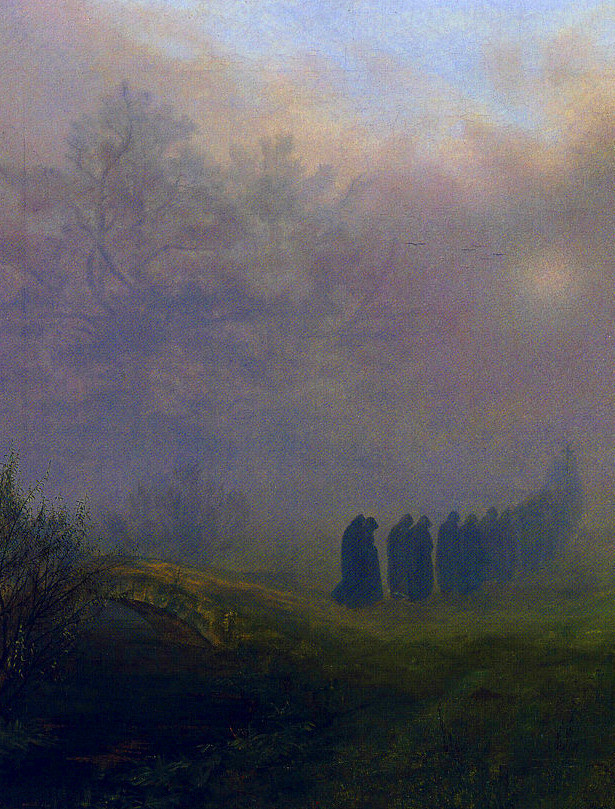 Ernst Ferdinand Oehme (German, 1797-1855, b. Dresden, Germany) - Procession In The Fog (Prozession im Nebel) (detail), 1828  Paintings: Oil on Canvas