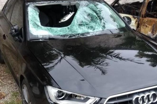 Imagem do carro de Sirotsky após o atropelamento.