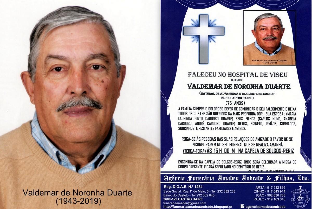 FOTO RIP DE VALDEMAR DE NORONHA DUARTE -76 ANOS (S