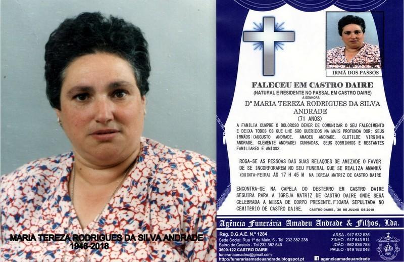FOTO RIP DE MARIA TEREZA RODRIGUES DA SILVA ANDRAD