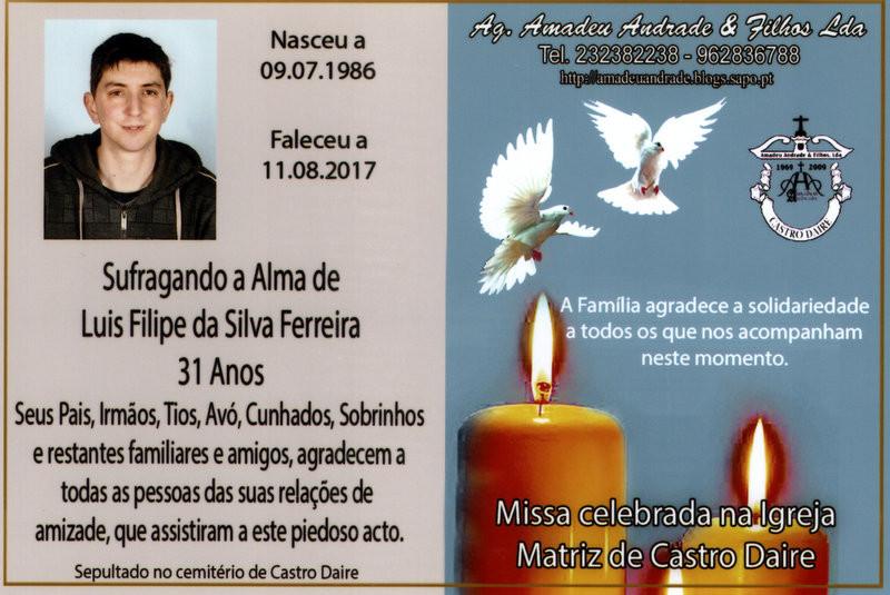 CARTÃO  DE LUIS FILIPE DA SILVA FERREIRA -31 ANOS