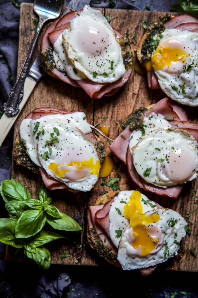 Open-Faced-Ham-Pesto-Melt-with-Fried-Egg-www.climb
