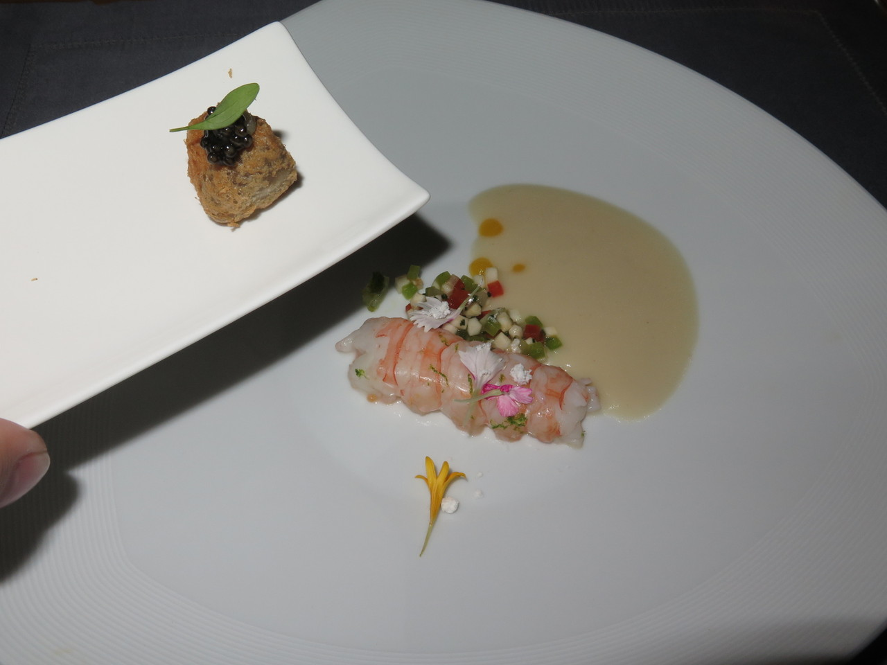Crayfish à la vanilla with celeriac, marrow soup, kaffir lime and bottarga