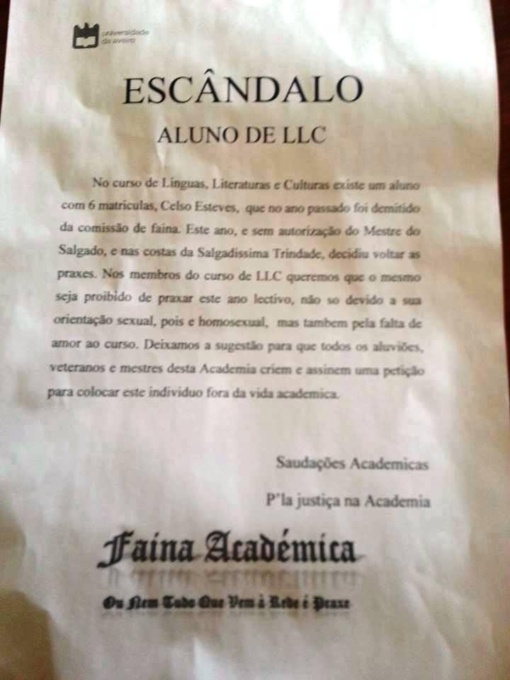 folheto Celso Esteves - praxe Universidade de Avei