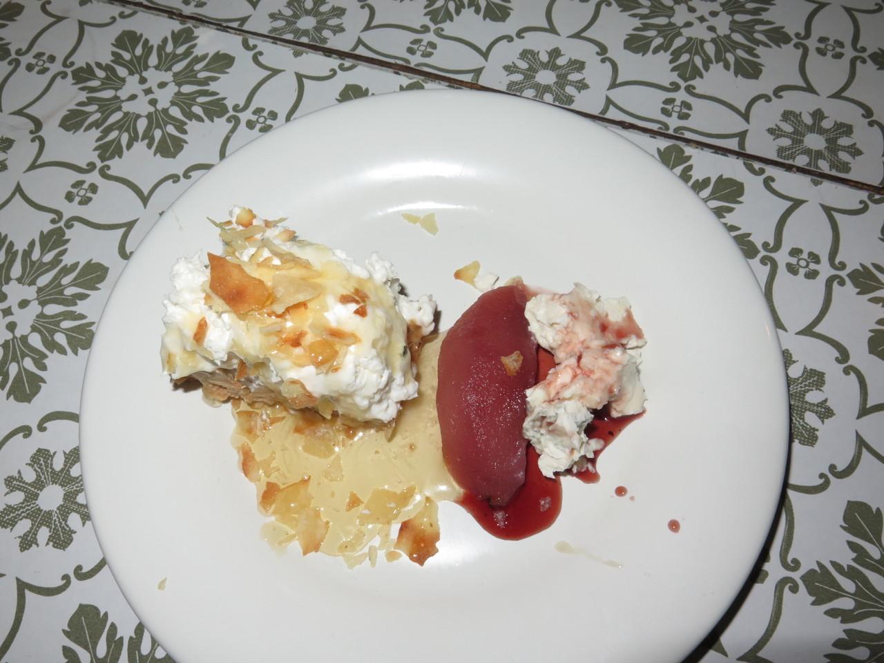 Torta di Mascarpone e pane carasau + Pere cotta con Gorgonzola e noci