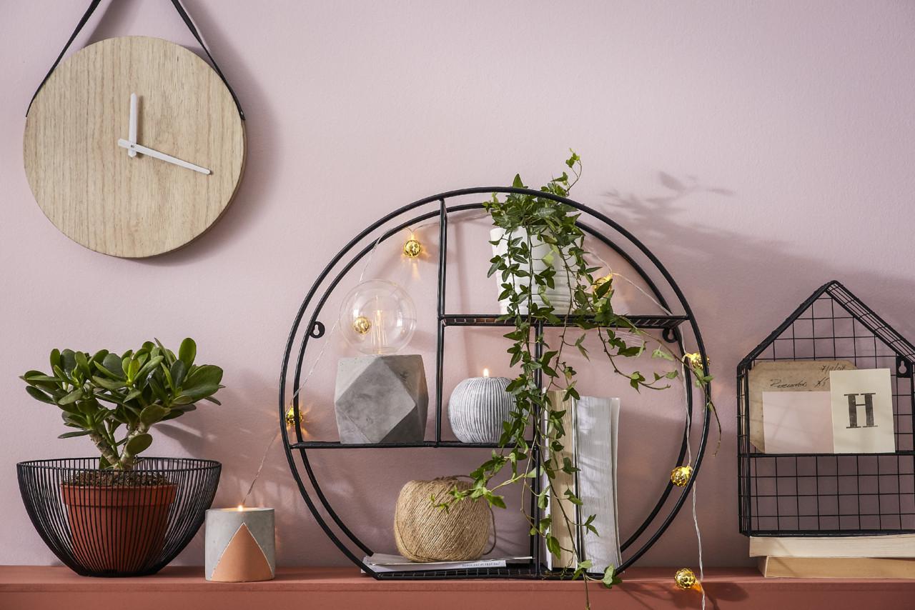 Black Wire Basket €14, Natural Clock €9, Cemen