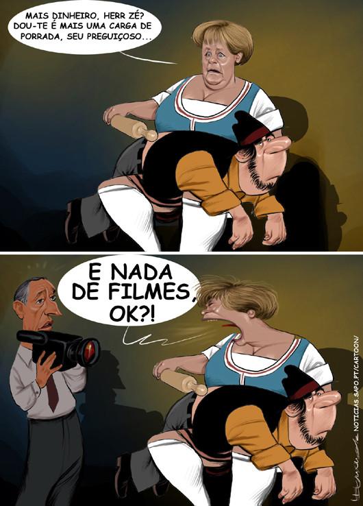 Cartoons - Angela Merkel, o Zé povinho e o professor Marcelo Rebelo de Sousa