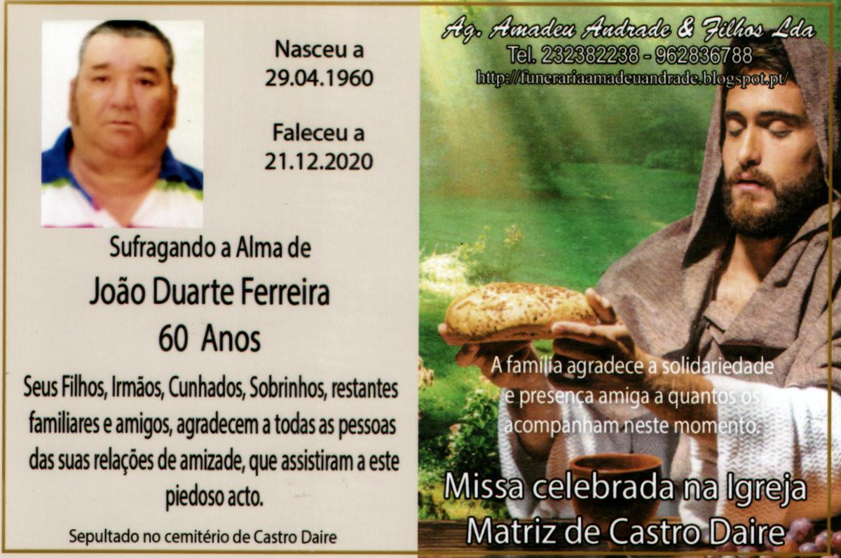 CARTÃO DE AGRADECIMENTO DE JOÃO DUARTE FERREIRA