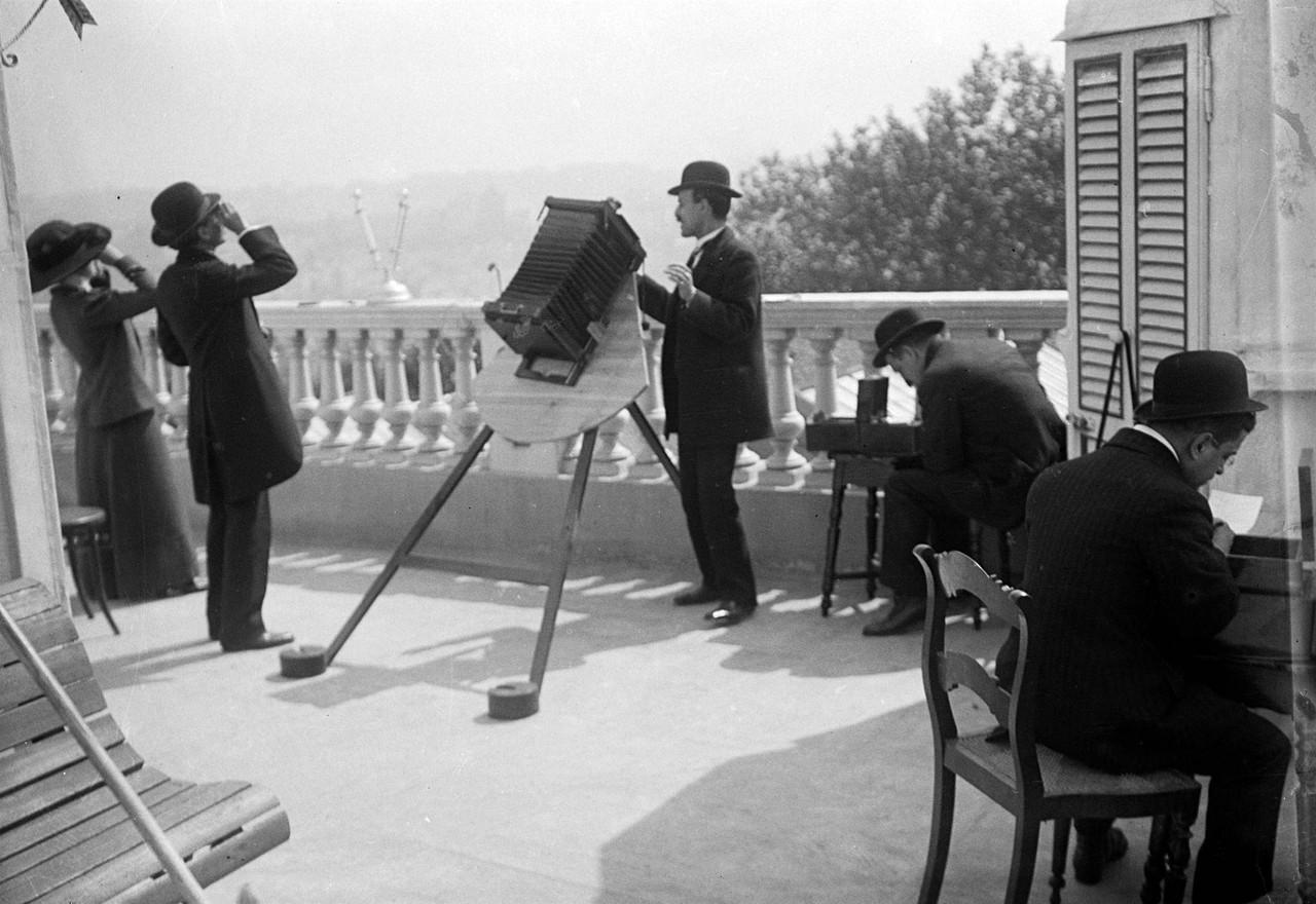 Fotografando o eclipse do sol na varanda do Observ