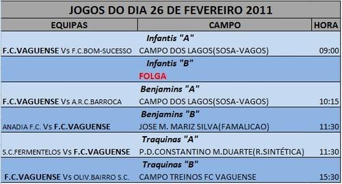 JOGOS FIM DE SEMANA --- DIA 26 FEVEREIRO - SÁBADO