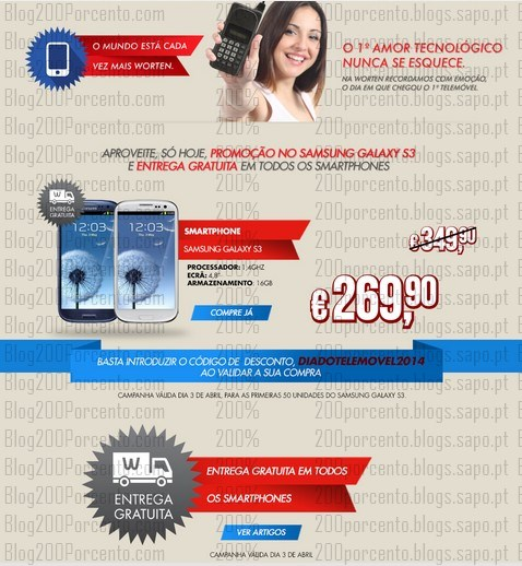 Promoção   WORTEN   só hoje Samsung Galaxy 3