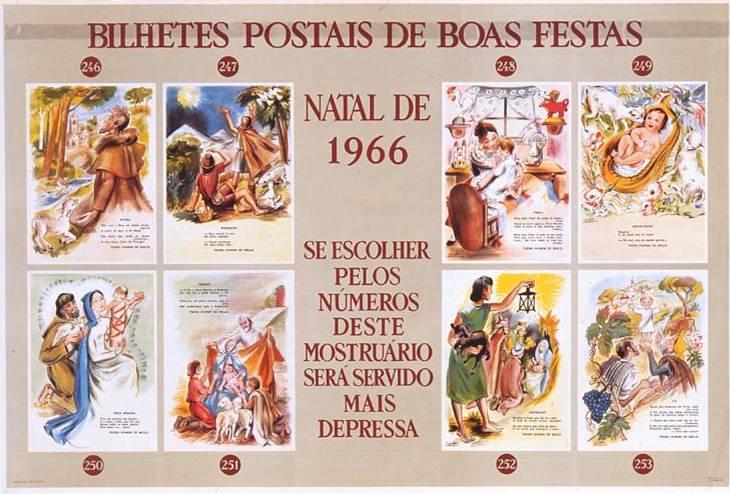 Cartaz de cartões de Natal dos correios, C.T.T.,1966.