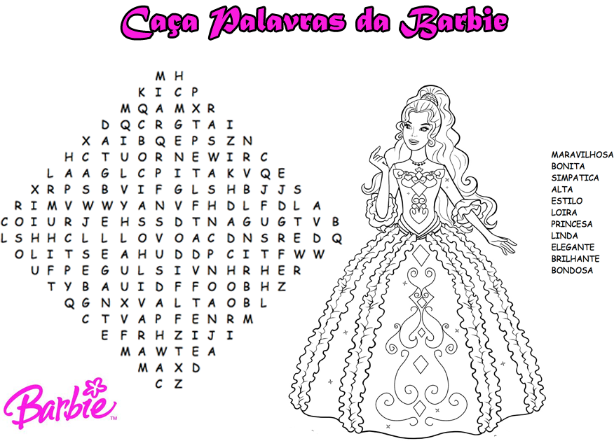 Caça Palavras Da Barbie Para Imprimir E Colorir